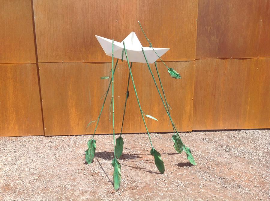origami boat metal sculpture