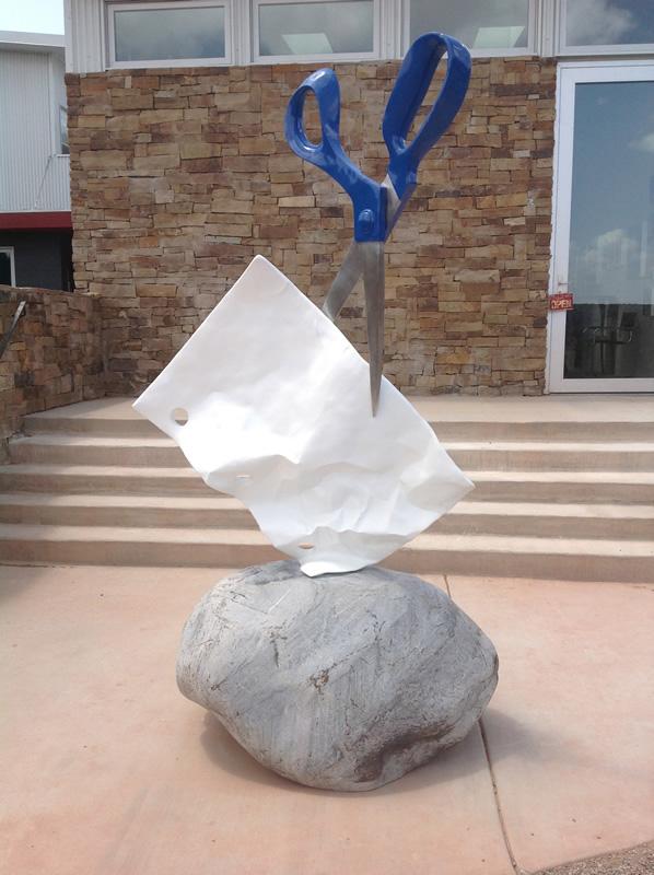 Rock Paper Scissors sculpture