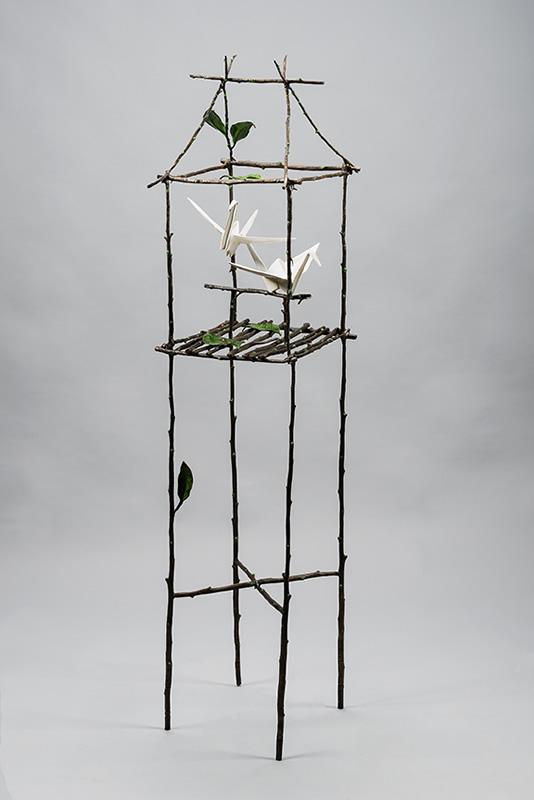 origami crane hanging sculpture