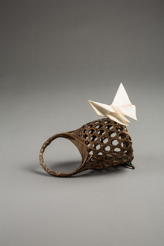 origami butterfly basket sculpture