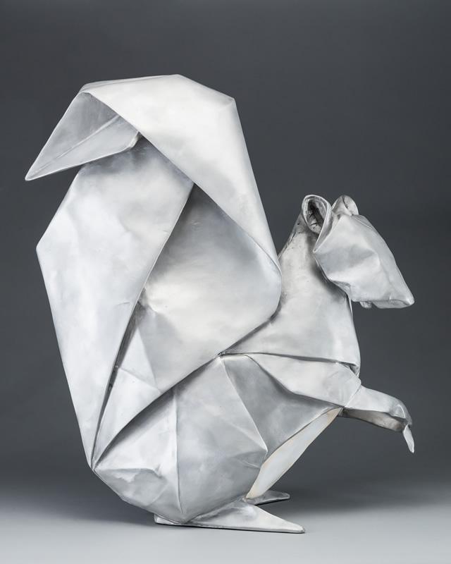 origami metal squirrel sculpture