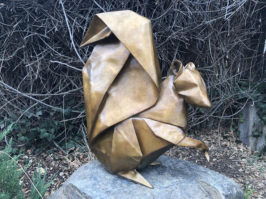 origami squirrel sculpture
