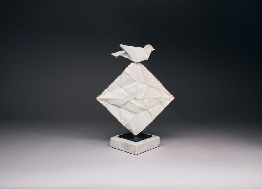 origami bird sculpture