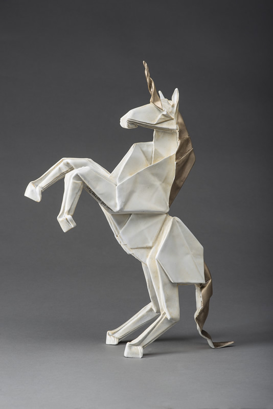 origami unicorn sculpture