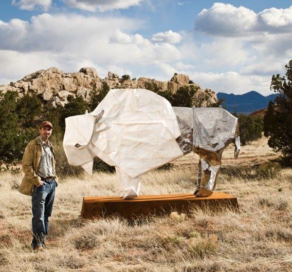 oirgami white bison sculpture