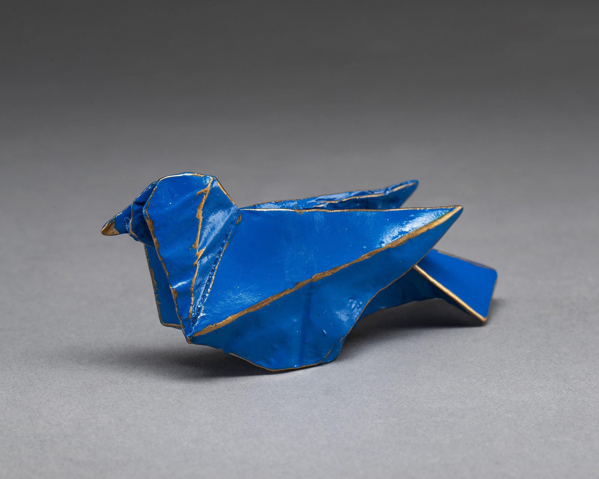 origami blue bird metal sculpture