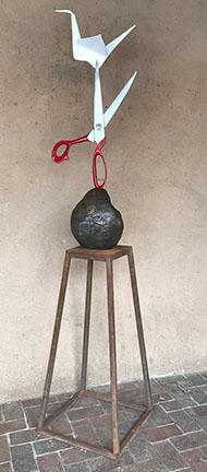 rock paper crane sculpture